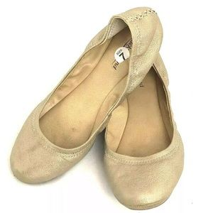 Lucky Brand Emmie Gold Ballet Flats Leather Crunch